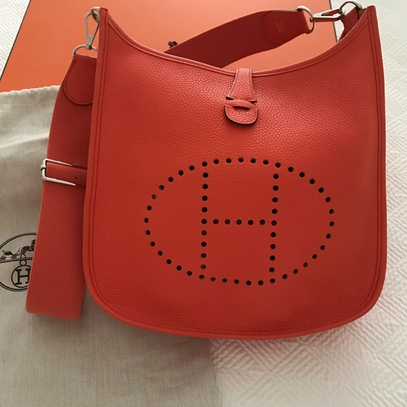 Hermes Handbags - Hermès Poppy Orange Evelyne Bag f6c39c1375dfd